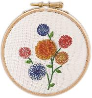 Dahlias en relief, tableautin Broderie Traditionnelle Princesse