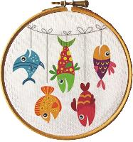 Poissons, tableautin Broderie Traditionnelle Princesse