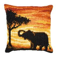 Eléphant, kit coussin canevas Vervaco