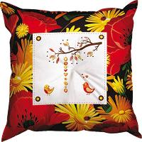 Les Poussins, kit coussin, broderie traditionnelle