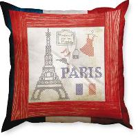 Paris,  kit coussin broderie traditionnelle