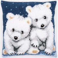 Oursons polaires, kit coussin canevas Vervaco