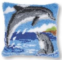 Dauphins, kit coussin point noué Vervaco