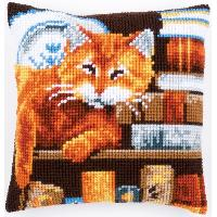 Chats & livres, kit coussin canevas Vervaco
