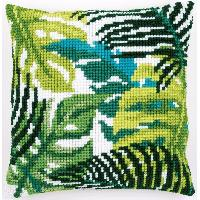 Feuilles exotiques, kit coussin canevas Vervaco