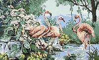 Flamants Roses, kit canevas Margot de Paris, 45 X 65 cm