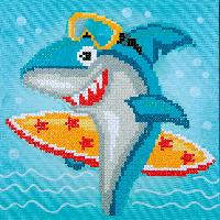 Requin Surf, kit broderie Diamant Vervaco