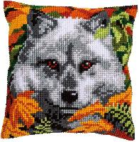 Loup, kit coussin canevas Vervaco