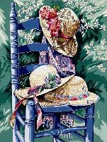 La chaise aux chapeaux, kit canevas Margot de Paris