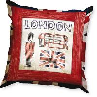 Londres, kit coussin broderie traditionnelle
