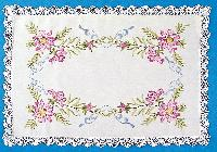 Fleurs Roses, napperon coton Broderie Traditionnelle
