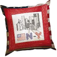 New York, kit coussin broderie traditionnelle