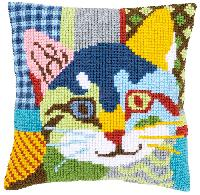 Chat Calico, kit coussin canevas Vervaco