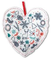 Coeur de Noël, kit broderie traditionnelle
